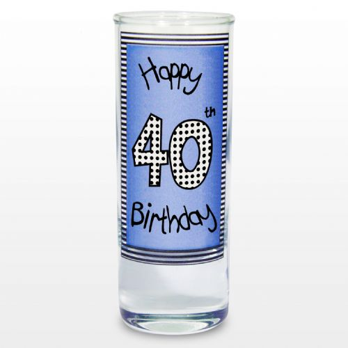 Blue 40th Happy Birthday Shot Glass gift keepsake